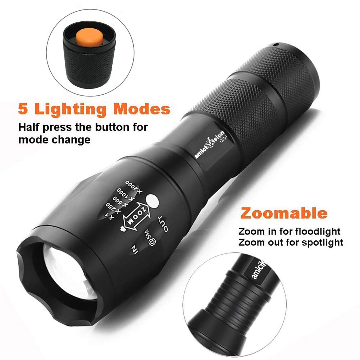 Amicivision Metal LED Torch Flashlight 2000 Lumens, XML T6 and 18650 Rechargeable Battery with Smart Battery Charger