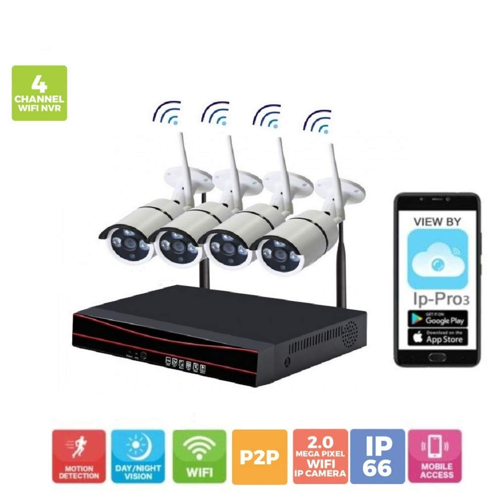 Wireless Security System 4CH NVR 4 * 2MP IP Bullet CCTV Camera with Motion Alert and Remote View