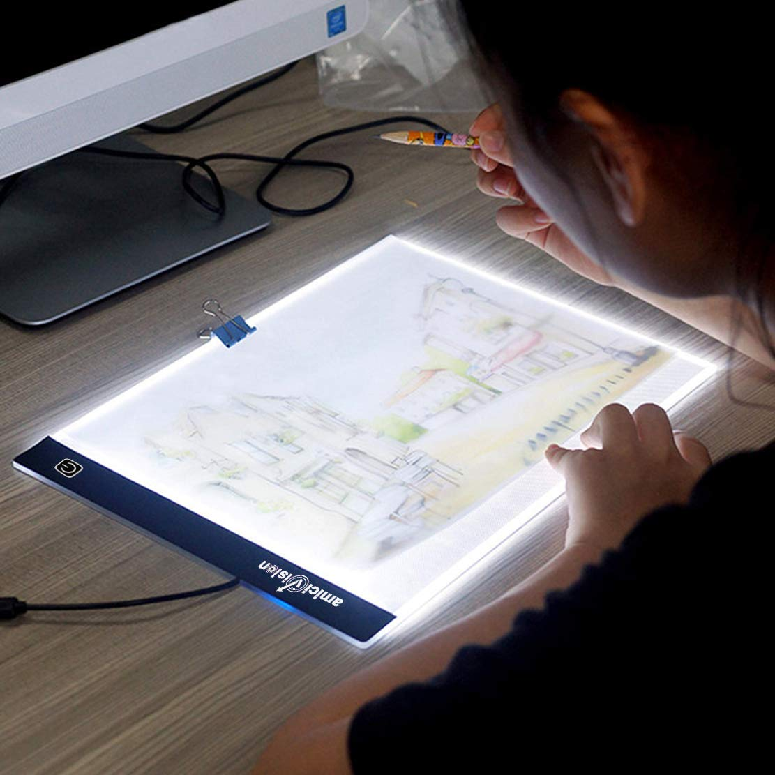 AmiciKart LED Lighted Drawing Board A4 Size with Brightness Controlled Touch Button
